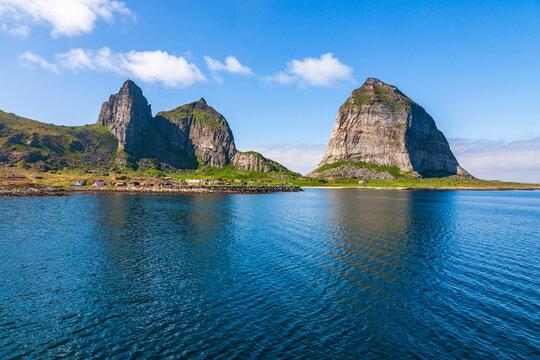 Sanna island and the famous Traenstaven on the Norwegian coast