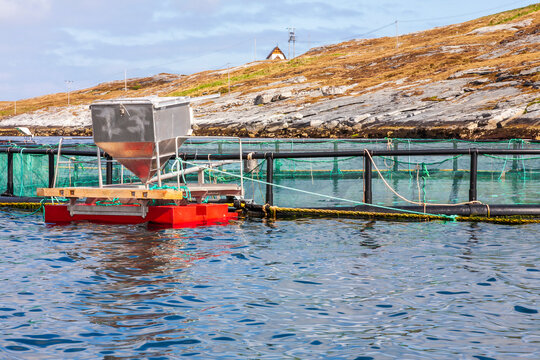 Fish farm in the sea at the coast in Norway