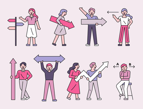 A collection of people holding various types of arrows. flat design style minimal vector illustration.