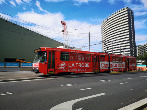 Melbourne, Australia: March 29, 2020: Metro tram advertising La Trobe University in Melbourne. La Trobe University is a public research university located in the suburb of Bundoora.