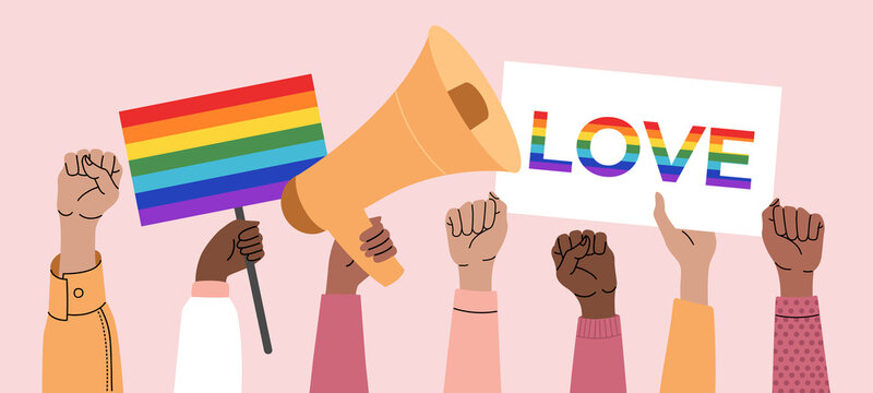 A crowd of people holding posters, transgender, lgbt and flags at a gay parade. Human rights, discrimination banner. Lgbtq symbols. Vector illustration in flat style on isolated pink background.