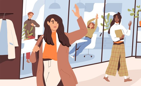 Young woman saying goodbye to colleagues and going home after end of work day in office. Female character leaving workplace. Everyday routine. Flat vector illustration