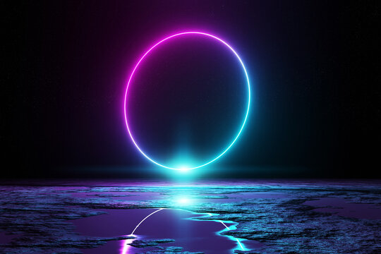Abstract background with blue and pink neon light circle reflecting in the water 3D rendering