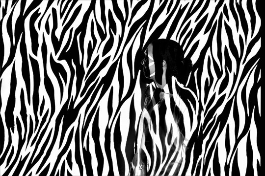 Digital Composite Image Of Woman Against Zebra Print