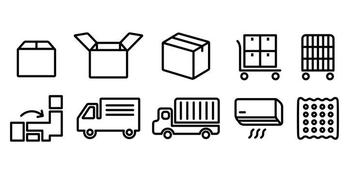 引越しダンボール、トラック、エアコンのベクターアイコンイラスト白黒