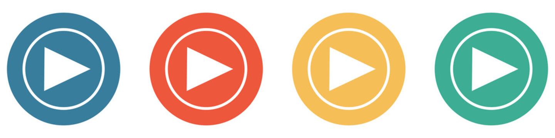 Bunter Banner mit 4 Buttons: Start, Player oder Zeichen zum Abspielen