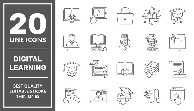 E-learning, online education elements - minimal thin line web icon set. Outline icons collection. Simple vector illustration. Editable Stroke.
