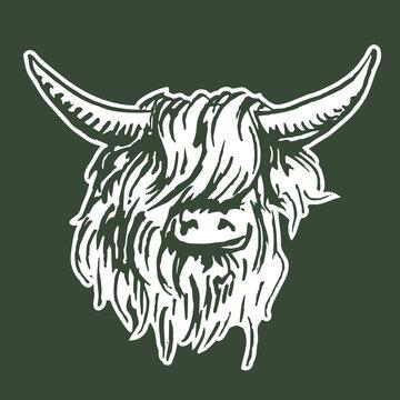 Scottish Highlander - stencil vector artwork for wallpaper - icon or artwork in a modern interior