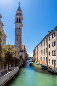 Architecture of Venetian Canal in Venice, Italy