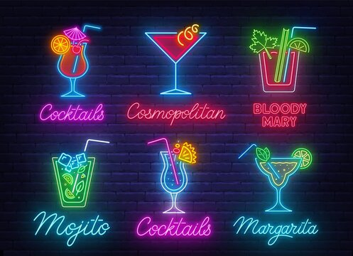 Cocktail Margarita, Blue Hawaiian,Mojito,Bloody Mary, Cosmopolitan and Tequila sunrise neon sign on brick wall background .