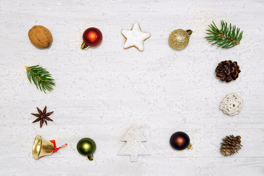 Plain Christmas background on white wooden board, copy space