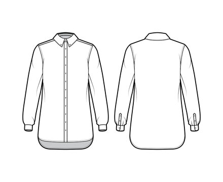 Classic shirt technical fashion illustration with long sleeves, relax fit, front button-fastening, regular collar. Flat apparel template front, back white, color. Women men unisex top CAD mockup