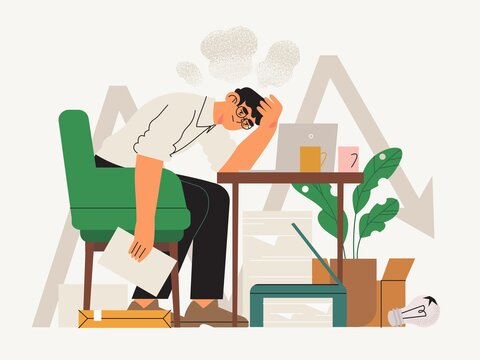 Exhausted male character or office, freelance worker during covid19 crises fighting for his busines. Small business owner, self employed, private entrepreneur facing difficulties or problems. Burnout.