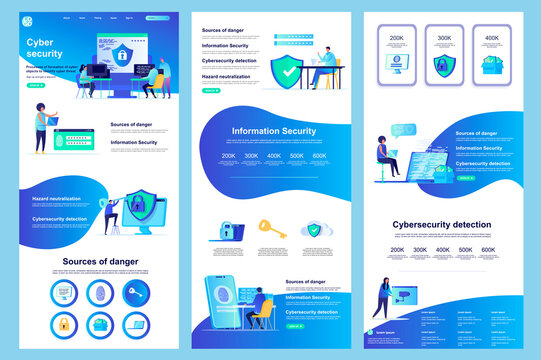 Cyber security flat landing page. Information security, data protection software corporate website design. Web banner with header, middle content, footer. Vector illustration with people characters.