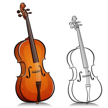 Vector music cello illustration cartoon