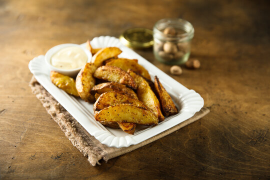 Homemade roasted potato wedges with spices