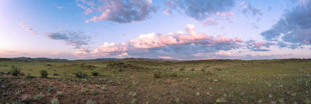 Panorama Mongolian Steppes Mountains