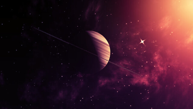 Space Concept Background With Solar Wind, Star Clusters And Gas Giant With Ring System