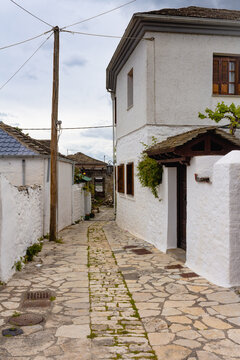 Typical Greek architecture and exotic street in Greece
