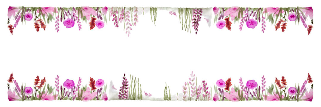 Panoramic View Of Watercolor Floral Pattern On White Background