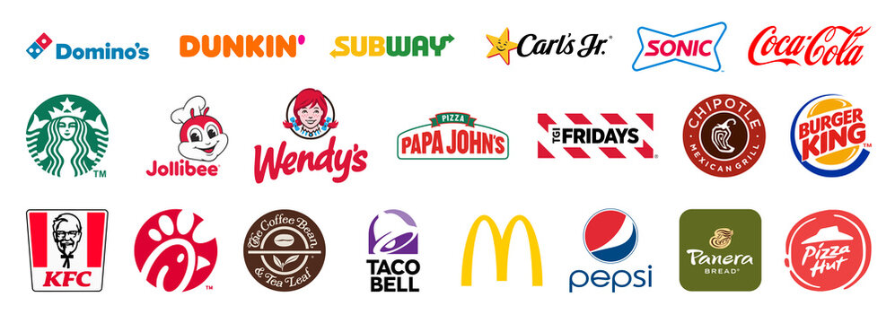 Set of popular fastfood icon for editorial use. Vector illustration