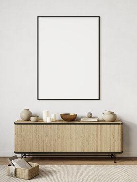 White modern interior with dresser, decor. 3d render illustration background mock up.