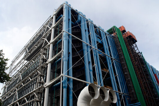 Paris (France). Architectural detail of the exterior of the Pompidou Center in the city of Paris