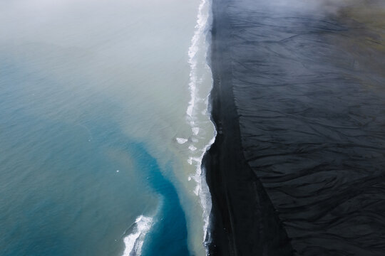 Aerial photo of the Black sand beach coastline in Iceland