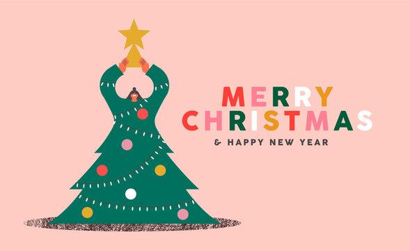 Merry Christmas New Year banner girl pine tree