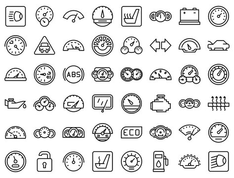 Car dashboard icons set. Outline set of car dashboard vector icons for web design isolated on white background