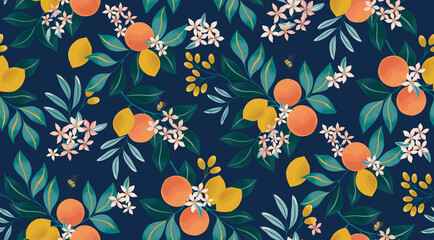 Lamas personalizadas para cocina con tu foto Vector illustration of seamless floral pattern with fruits. Design for cards, party invitation, Print, Frame Clip Art and Business Advertisement and Promotion