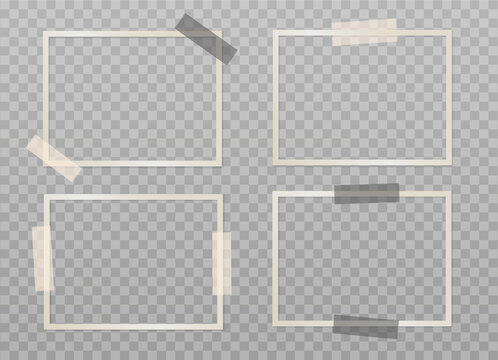 Set of beige empty photo frames with adhesive tape on a transparent background. Mockup for your design. Blank template. Vector 3d realistic. Rectangular photo card with black and beige sticky tape.