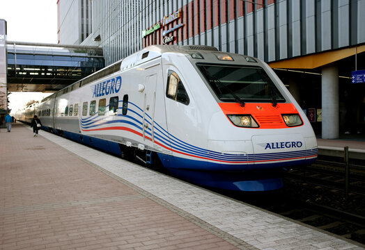 Allegro speed train at the station before heading, Finland