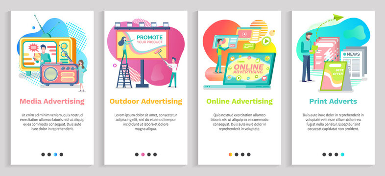 Outdoor advertising vector, social media promotion and online ads in internet, papers and newspapers, promote products, billboards in city. Website or slider app, landing page flat style