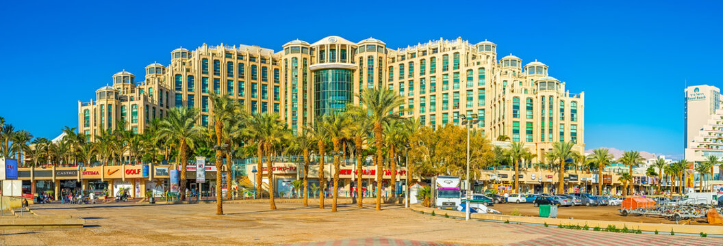 Panorama of the Hilton Hotel and tourist market, on Feb 23, 2016 in Eilat, Israel