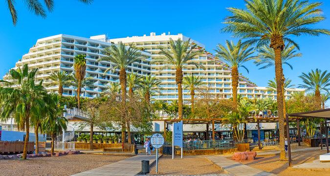 The modern hotels of Eilat, on Feb 23, 2016 in Eilat, Israel