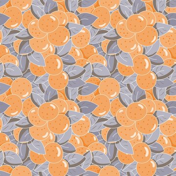 bright seamless vegetable pattern with orange fruits and leaves