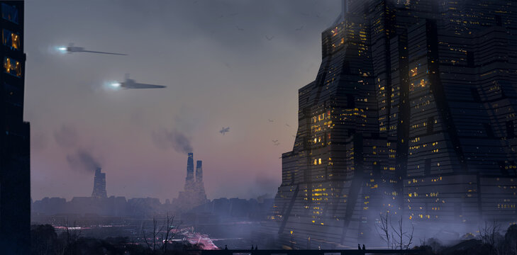 Digital painting of space ships flying in the air near a massive building in a future science fiction environment - fantasy illustration