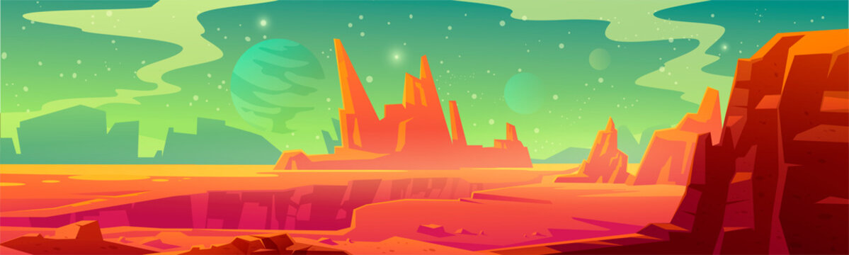 Mars landscape, red alien planet background, desert surface with mountains, rocks, deep cleft and stars shine on green sky. Martian extraterrestrial computer game backdrop, cartoon vector illustration
