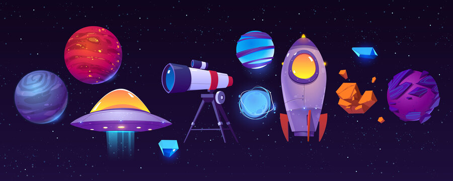Space exploring icons, planets, rocket or shuttle, telescope, alien ufo with asteroid in dark starry sky. Fantasy computer game graphic design elements, cosmic objects, Cartoon vector illustration set