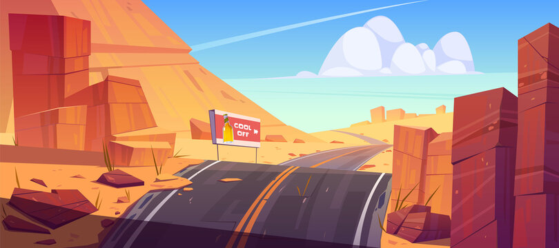 Road and billboard in desert with red rocks. Vector cartoon landscape of hot sand desert with highway turn, advertising banner with beer bottle and orange mountains