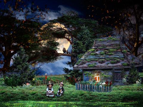 Fairy world of old dwarves