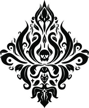 Skulls Damask Floral Baroque vector illustrator design