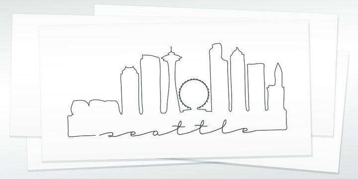 Seattle, WA, USA Doodle Skyline Hand Drawn. City One Line Art Illustration Landmark. Minimalistic Sketch Pen Background.