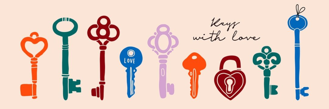 Hand drawn colored Vector Keys. Various vintage, antique and modern Keys with ornate heads. Different types, sizes. All elements are isolated