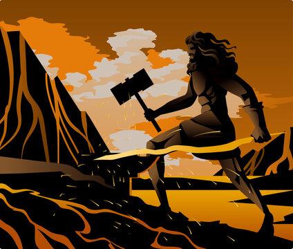 hephaestus vulcan greek god in the blacksmith forge