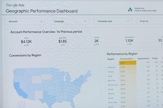Google ads geographic performance dashboard