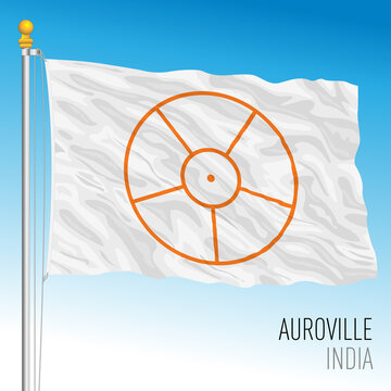 Auroville flag, Indian community, India, vector illustration