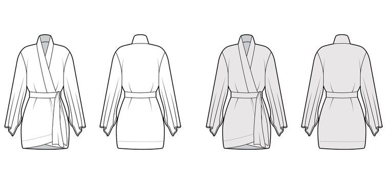 Kimono robe technical fashion illustration with long wide sleeves, belt to cinch the waist, above-the-knee length. Flat apparel blouse template front, back white grey color. Women men CAD shirt mockup