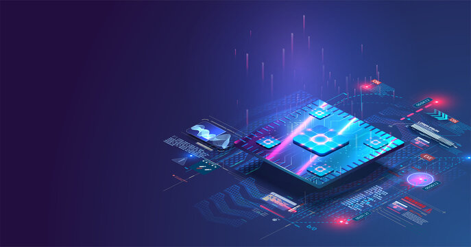 Microchip processor with lights effects. Cybernetic system, futuristic computing technology. Electronics microchip technology. Blockchain, fintech, ai,  hardware, software. Analysis, scanning chip